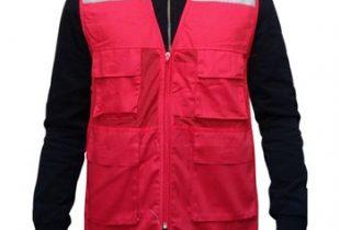 Áo phản quang túi hộp gile phối vải lưới màu đỏ