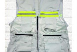 Áo phản quang gile 6 túi hộp vải Hàn lưới Hàn Quốc màu ghi sáng
