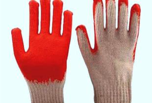 Găng tay sợi HanKo phủ nhựa màu đỏ
