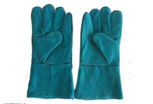 Găng tay da thợ hàn 02 lớp dài 31cm màu xanh chịu nhiệt cao