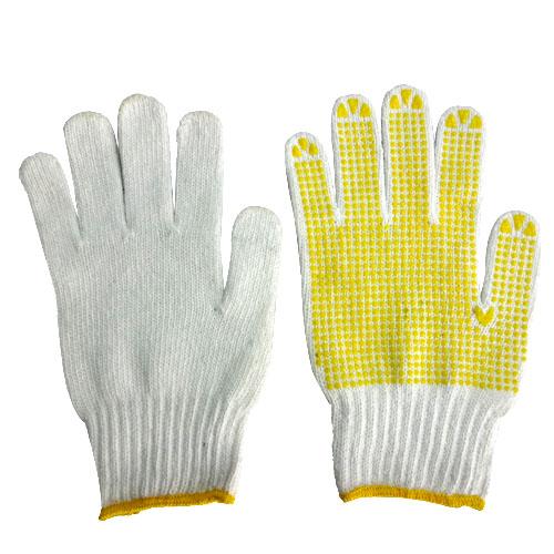 Găng tay sợi phủ hạt nhựa màu vàng