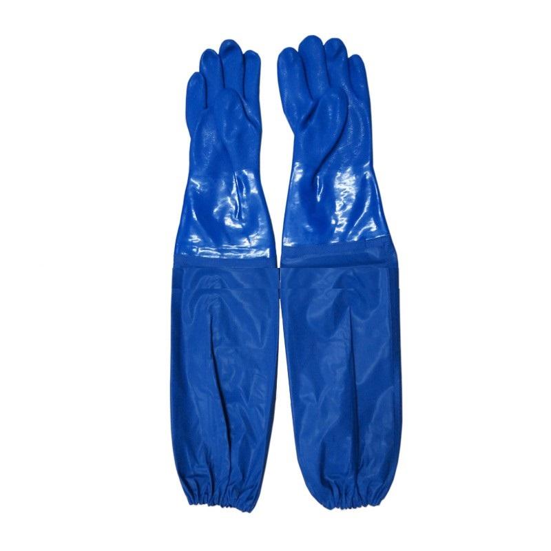 Găng tay cao su dài tới nách màu xanh chống hóa chất mạnh